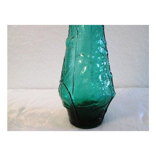 Image of Mid-Century Emerald Green Genie Bottle Decanter