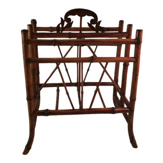 Antique Bamboo Cane Magazine Stand