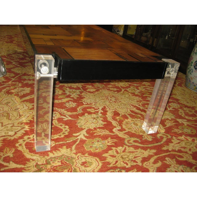 Bijan bahar mid century lucite wood coffee table chairish for 0co om cca 9 source table