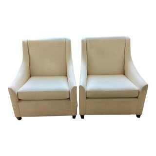 West Elm Cream Arm Chairs - A Pair