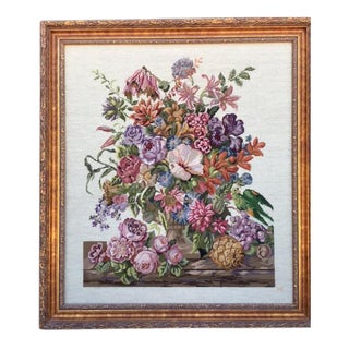 Framed Floral Still Life Needlepoint