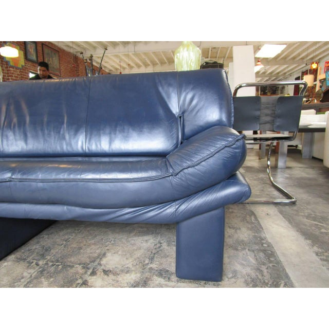 Navy Blue Leather Sofa By Nicoletti Salotti Chairish