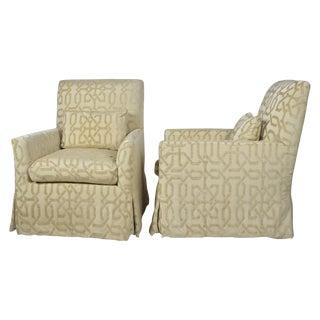 R. Jones Style Lounge Chairs in Cut Velvet - Pair