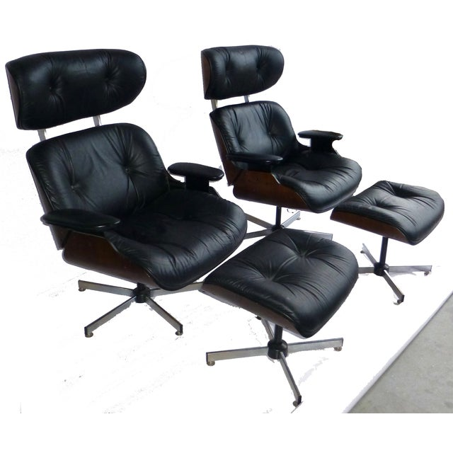 Image of Plycraft Mid-Century Chairs & Ottomans - A Pair