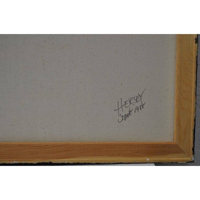 Charles Hersey Vintage Mixed Media Painting - Image 6 of 7