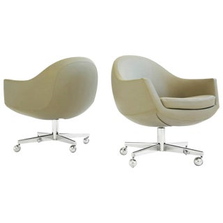Pair of Leather Swivel Chairs in the Style of Milo Baughman