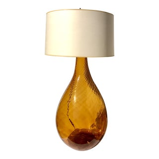 Amber Glass Demi John as Table Lamp