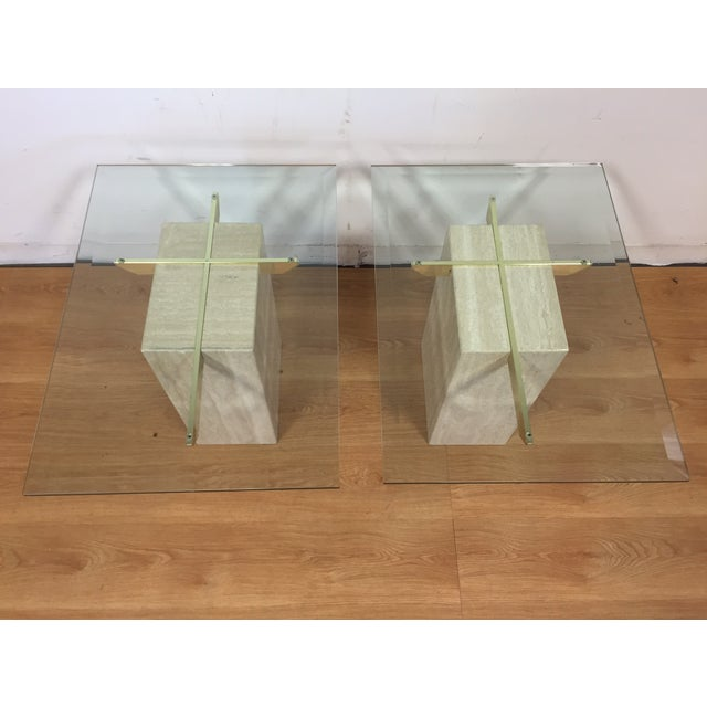 Travertine Brass and Glass End Tables - A Pair - Image 3 of 9