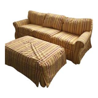 Crate & Barrel Striped Sofa & Ottoman