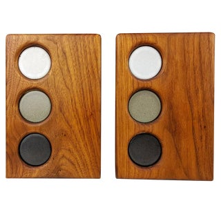 Beautiful Walnut and Ceramic Bookends by Gordon and Jane Martz, 1950s