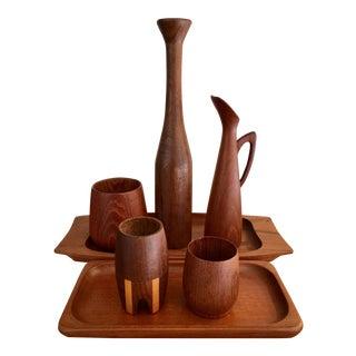 Scandinavian Teak Trays & Vessels - Set of 10