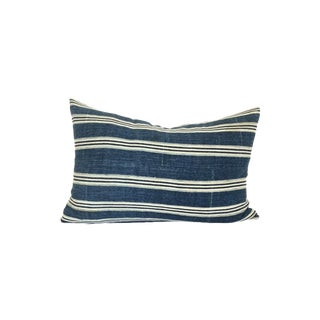 Vintage African Indigo Striped Pillow