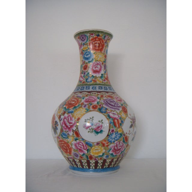 """Large Oriental Gold/Floral Hand Painted Vase H22"""" - Image 2 of 6"""