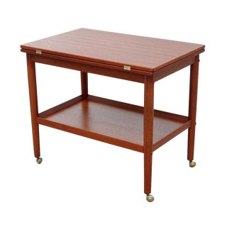 Flip-Top Danish Teak Serving Cart