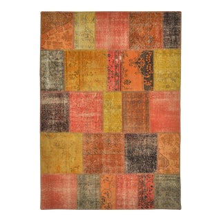 Turkish Distressed Overdyed Patchwork Rug - 5'7 X 7'11