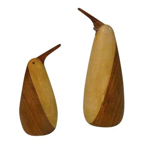 1960s Teak Penguin Salt & Pepper Shakers - A Pair