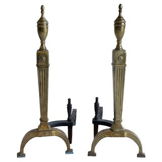 Neoclassical Style Brass Andirons - Pair