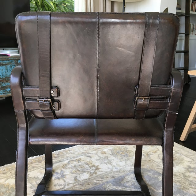 Restoration Hardware Brown Leather Buckle Chair - Image 5 of 5