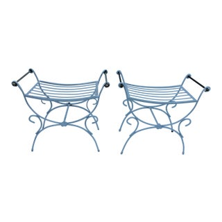MCM French Wrought Iron And Brass Vanity Benches - A Pair
