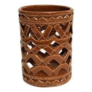 Moroccan Hand Painted Brown Ceramic Tealight Cup Holder