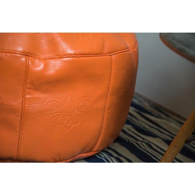 Antique Revival Orange Leather Pouf Ottoman Chairish