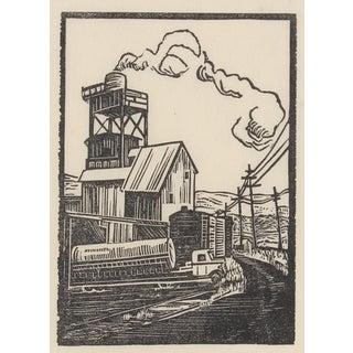 Circa 1940s Rural Factory Linoleum Block Print by Mary Watterick Evans