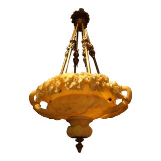 Antique chandelier. Alabaster plafonnier