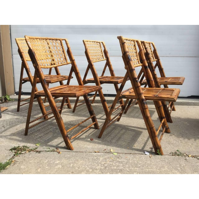 Scorched Bamboo Frame Folding Chairs - Set of Five - Image 3 of 9