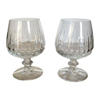 Antique Clear Cut Crystal Brandy Glasses - Pair