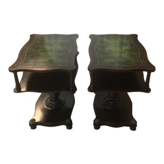 Leather Top Library Tables - A Pair