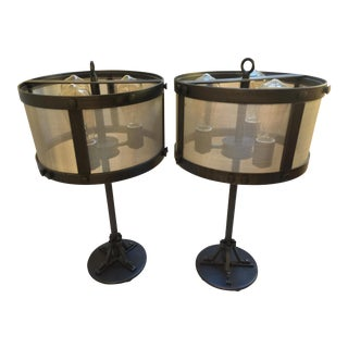 Restoration Hardware Riveted Mesh Accent Lamps - A Pair
