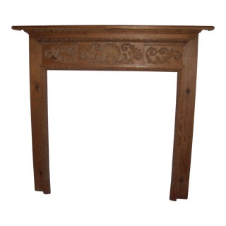 English Carved Pine Fireplace Mantle Surround