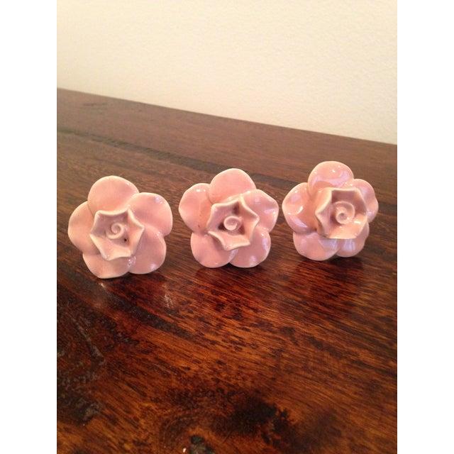 Ceramic Pink Rose Knobs - Set of 3 - Image 2 of 7