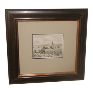 Early 20th C French Framed Watercolor Painting