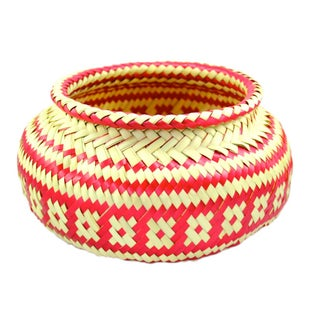 Palm Hand-woven Red & Natural Basket