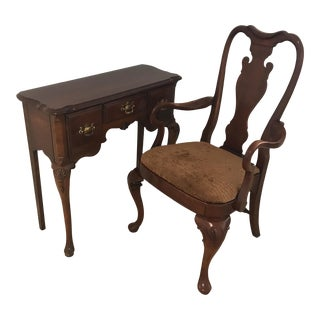 Link Taylor Solid Cherry Writing Desk & Chair - A Pair