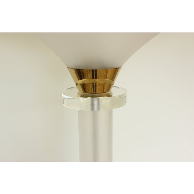 Image of Brushed Lucite and Brass Floor Lamp
