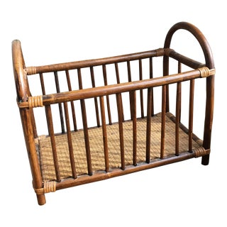 Vintage Rattan Wicker Magazine Rack