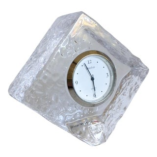 Orrefors Crystal Ice Block Clock
