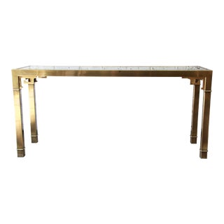 Mastercraft Brass & Glass Greek Key Console Table