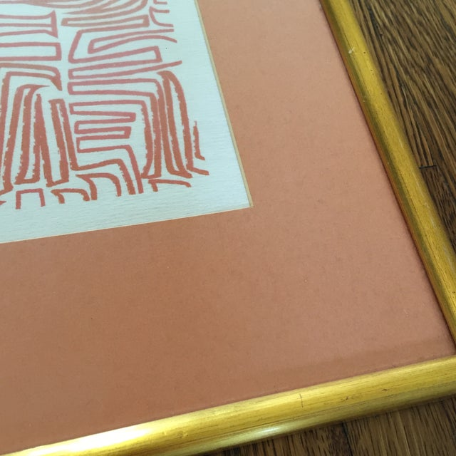 Image of Original Abstract Lithograph in Gold Frame
