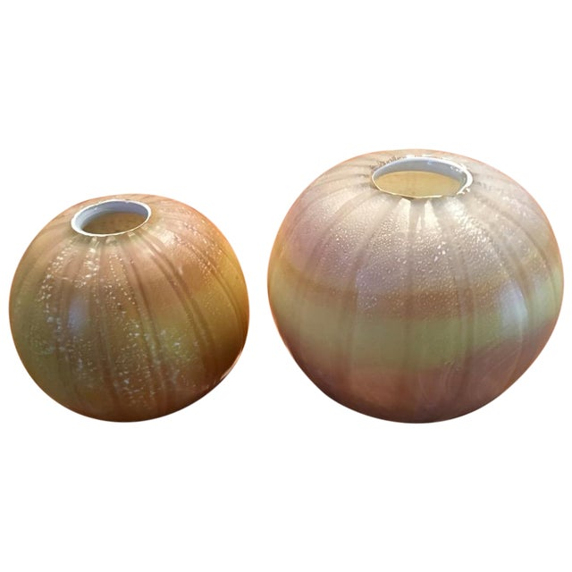 Round Maize Vases - A Pair - Image 1 of 4