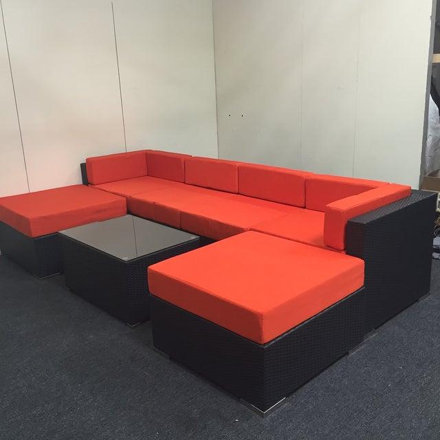 Orange Wicker Patio Set - Image 9 of 10