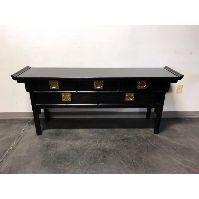 Century Black Console with Brass Hardware - Image 2 of 10