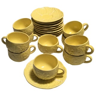 Cups & Saucers in Yellow Cabbage Leaf