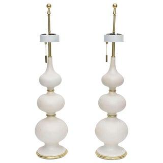 Gerald Thurston Matte Porcelain Gourd Lamps - a Pair