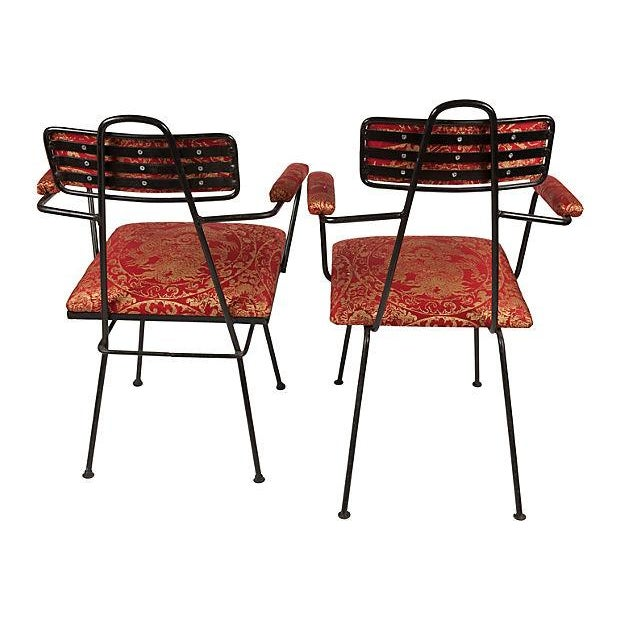 Image of French Iron & Schumacher Silk Armchairs- A Pair