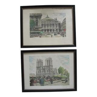 Vintage Mid-Century Paris Prints- 2 Pieces