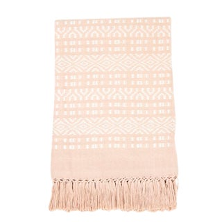 Pink & White Handwoven Chiapas Throw