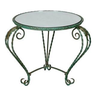 1930's Italian Iron Mirror Top Low Round Table